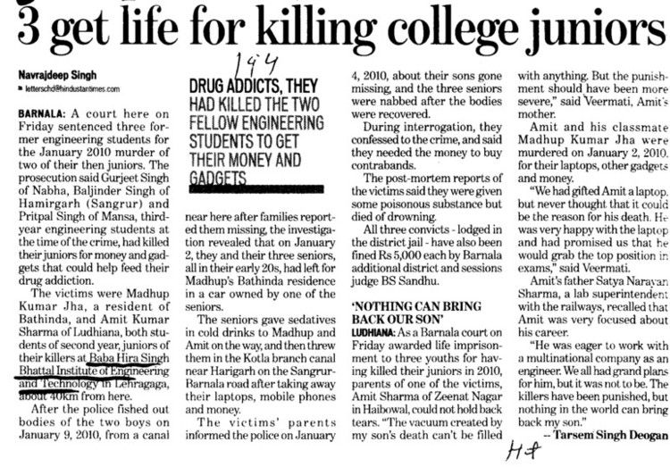 3 get life for killing college juniors (Baba Hira Singh Bhattal Institute of Engineering and Technology (BHSBIET))