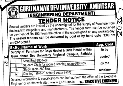 Study Table and Dining Table etc (Guru Nanak Dev University (GNDU))