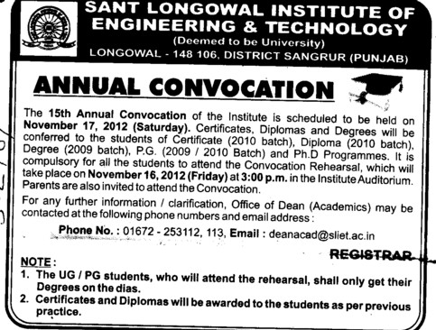 Annual Convocation 2012 (Sant Longowal Institute of Engineering and Technology SLIET)
