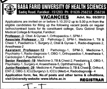 Professor, Senior Residents, asstt Professor and Associate Professor etc (Baba Farid University of Health Sciences (BFUHS))