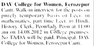 Lecturer on temporary basis (DAV College for Women)