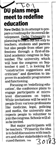 DU plans mega meet to redefine education (Delhi University)