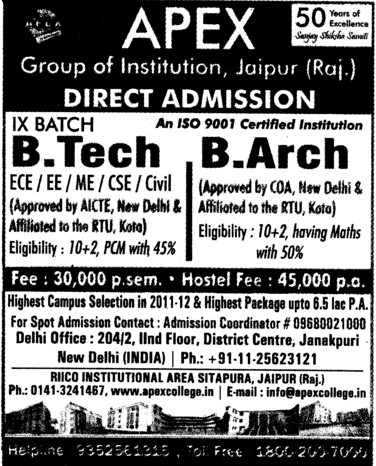 BTech and B Arch Courses (Delhi University)