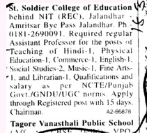 Asstt Professor for various subjects (St Soldier College of Education)