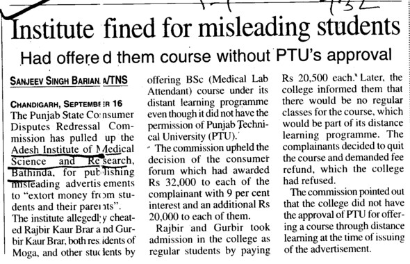 Institute fined for misleading students (Adesh Institute of Medical Sciences and Research)