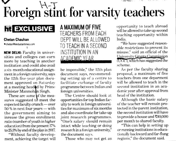 Foreign stint for varsity teachers (University Grants Commission (UGC))