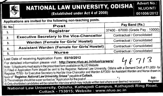 Registrar, Asstt Warden and Nurse etc (National Law University)