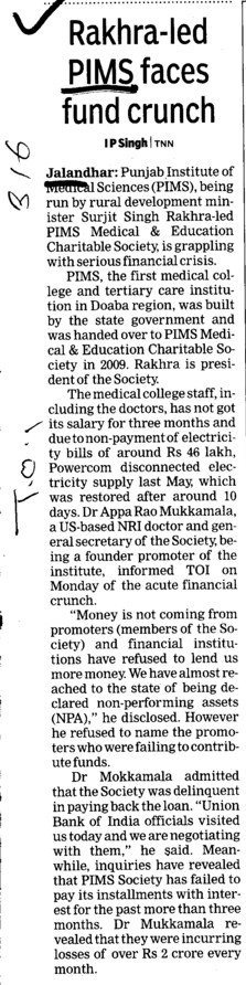 Rakhra led PIMS faces fund crunch (Punjab Institute of Medical Sciences (PIMS))