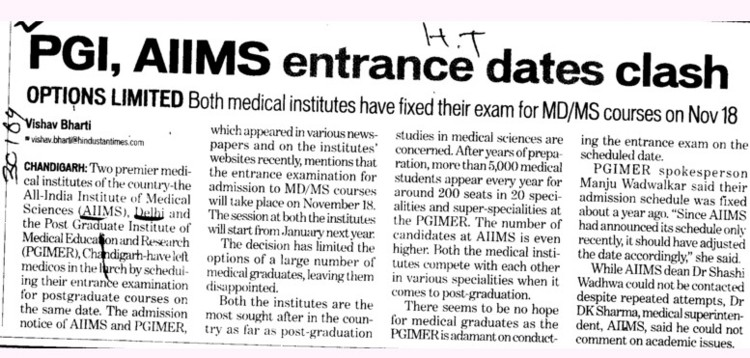 PGI, AIIMS entrance dates clash (All India Institute of Medical Sciences (AIIMS))