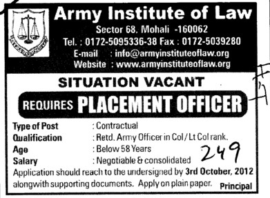 Placement Officer (Army Institute of Law)