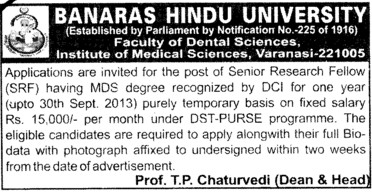 Senior Research Fellow (Banaras Hindu University)