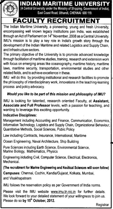 Asstt and Associate Professoe (Indian Maritime University)