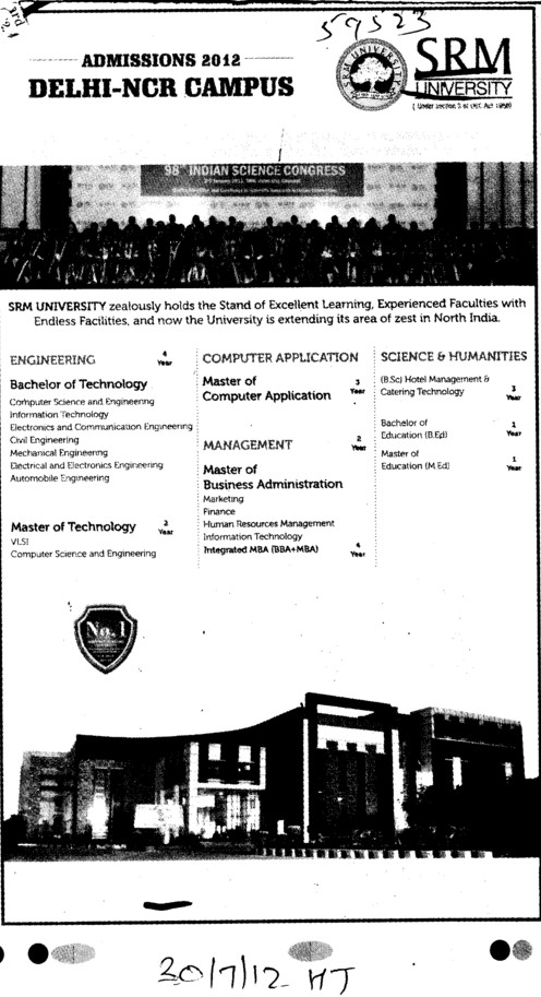 BTech, MTech and MBA Courses etc (SRM University Delhi NCR Campus (SRM Institute of Management and Technology (SRMIMT)))