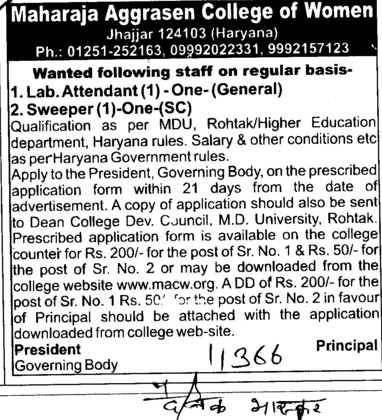 Lab Attendant and Sweeper (Maharaja Aggrasen College for Women)