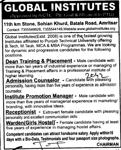Admission Counselor and Receptionlist etc (Global Institutes Group)