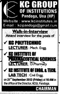 Lecturer and Lab Technician (KC Group of Institutions)