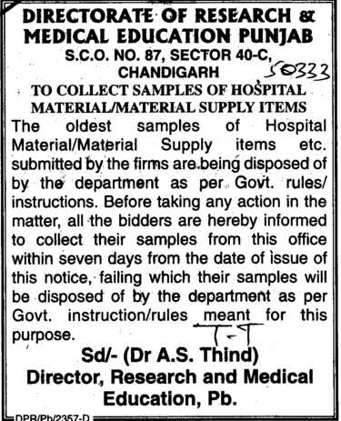 Supply of Hospital Material (Director Research and Medical Education DRME Punjab)