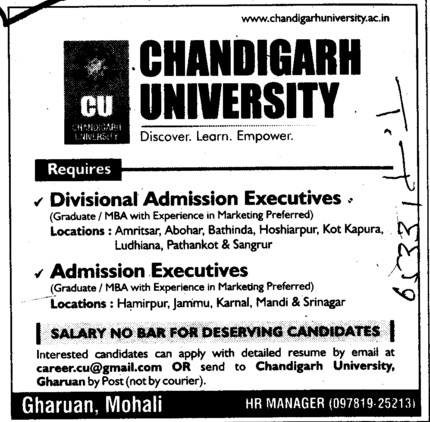 Admission Executives etc (Chandigarh University)