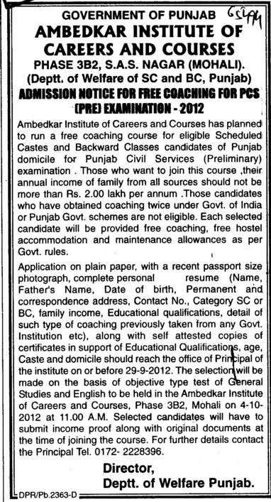 Coaching for PCS Examination 2012 (Ambedkar Institute of Careers and Courses)