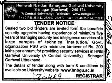 Security and intelligence Services (Hemwati Nandan Bahuguna Garhwal University)