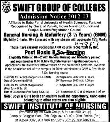 Post Basic BSc Nursing course (Swift Group of College (SGOC))