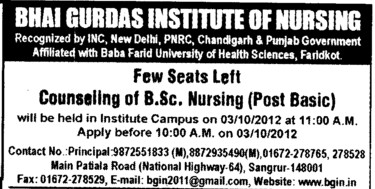 BSc Nursing Course (Bhai Gurdas Institute of Nursing)