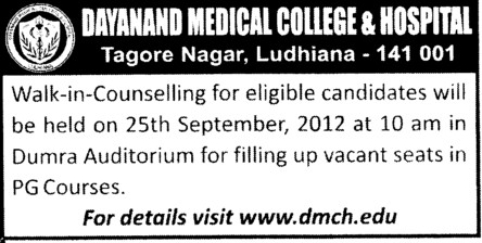PG Courses (Dayanand Medical College and Hospital DMC)
