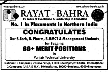 Number 1 placement Campus (Rayat and Bahra Group)