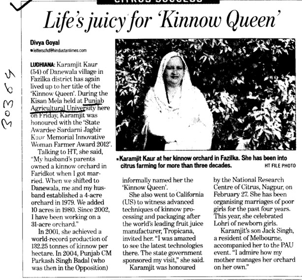 Lifes juicy for kinnow queen (Punjab Agricultural University PAU)