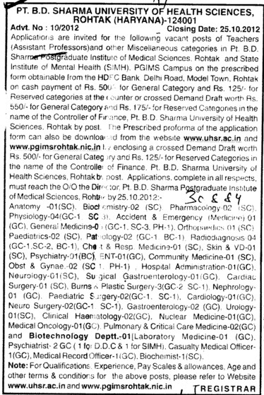 Asstt Professor for various subjects (Pt BD Sharma University of Health Sciences (BDSUHS))