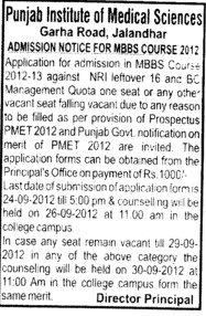 MBBS Course 2012 (Punjab Institute of Medical Sciences (PIMS))