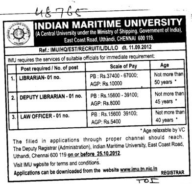 Librarian, Deputy Librarian and Law Officer (Indian Maritime University)