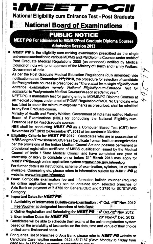 NEET PG for admission to MD and MS Courses etc (National Board of Examinations)