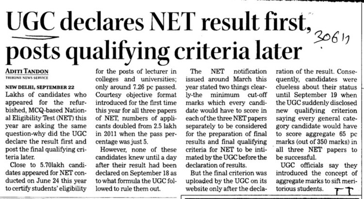 UGC declares NET result first, posts qualifying criteria later (University Grants Commission (UGC))