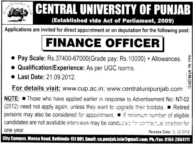 Finance Officer (Central University of Punjab)