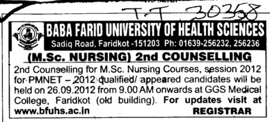 MSc Nursing Course (Baba Farid University of Health Sciences (BFUHS))