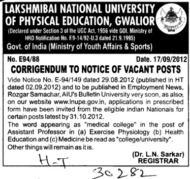 Regarding post of Asstt Professor (Lakshmibai National University of Physical Education (LNUPE))
