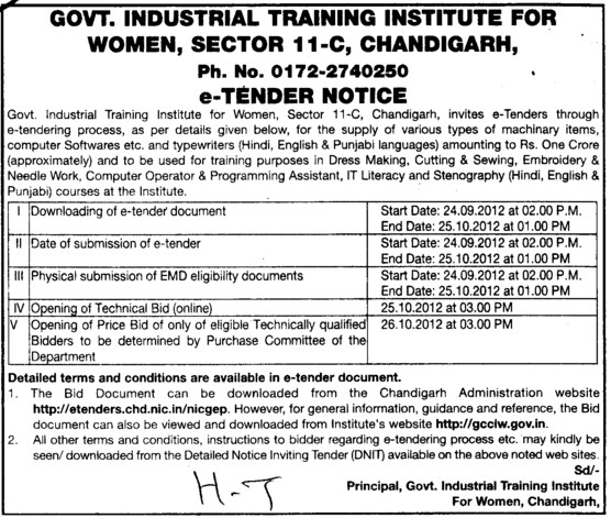 Various types of Machinery (Industrial Training Institute (ITI Women))