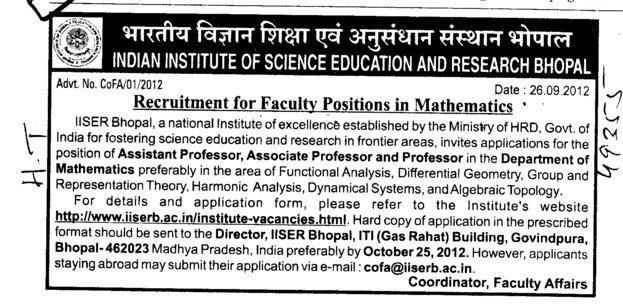 Faculty Position in Mathematics (Indian Institute of Science Education and Research (IISER))