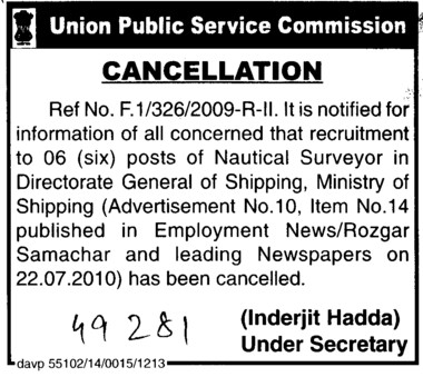 Cancellation of Post of Nautical Surveyor (Union Public Service Commission (UPSC))