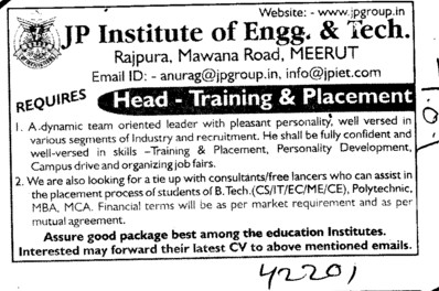 Training and Placement Officer (JP Institute of Engineering and Technology)