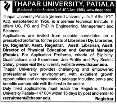 Librarian, Deputy Librarian and Registrar etc (Thapar University)