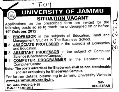 Professor, Associate Professor and Computer Programme (Jammu University)