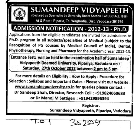 PhD Programme (Sumandeep Vidyapeeth University Piparia)