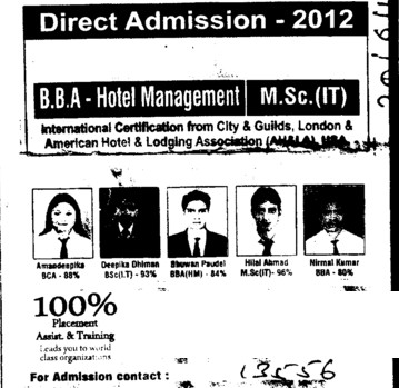 BBA in hotel management (Himalayan Institute of Technology (HIT))