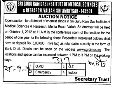 Auction Notice for Chemist Shop (Sri Guru Ram Das Institute of Medical Sciences and Research)