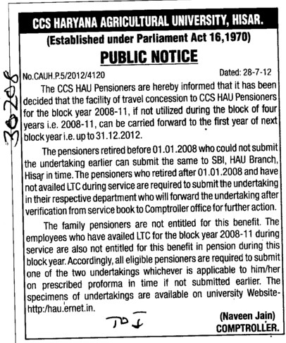 Concession to CCS HAU pensioners for the block year 2008 11 (Ch Charan Singh Haryana Agricultural University (CCSHAU))