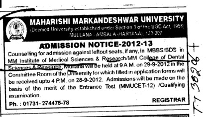 BDS and MBBS Courses (Maharishi Markandeshwar University)