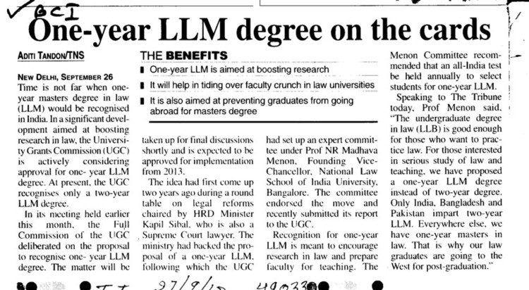 One year LLM degree on the cards (Bar Council of India (BCI))