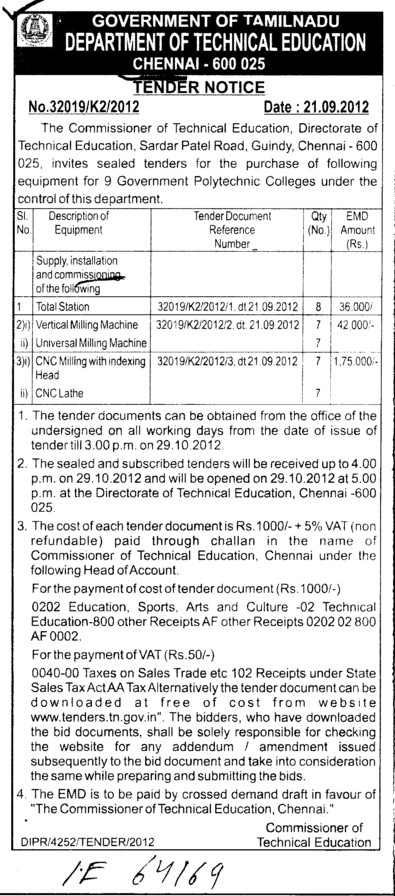 CNC lathe and Verticle Miling Machine etc (Directorate of Technical Education (DoTE) (Technical Education Board Tamil Nadu))